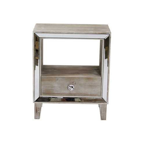 1-Drawer Accent Cabinet W/ Mirror Accents - Mdf, Wood Mirrored Glass In White Washed