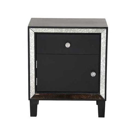 1-Drawer, 1-Door Accent Cabinet W/ Antiqued Mirror Accents - Mdf, Wood Mirrored Glass In Black