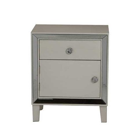 1-Drawer, 1-Door Accent Cabinet W/ Mirror Accents - Mdf, Wood Mirrored Glass In Antique White