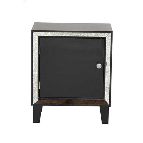 1-Door Accent Cabinet W/ Antiqued Mirror Accents - Mdf, Wood Mirrored Glass In Black
