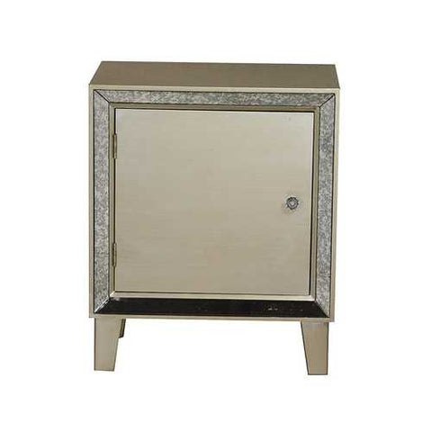 1-Door Accent Cabinet W/ Antiqued Mirror Accents - Mdf, Wood Mirrored Glass In Champagne