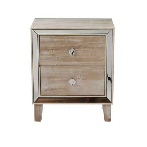 2-Drawer End Table W/ Antiqued Mirror Accents - Mdf, Wood Mirrored Glass In White Washed