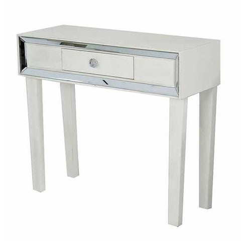 1-Drawer Console Table W/ Mirror Accents - Mdf, Wood Mirrored Glass In Antique White
