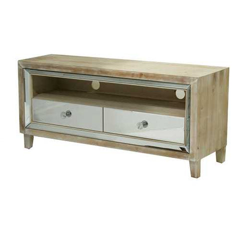 2-Drawer Mirrored Tv Stand - Mdf, Wood Mirrored Glass