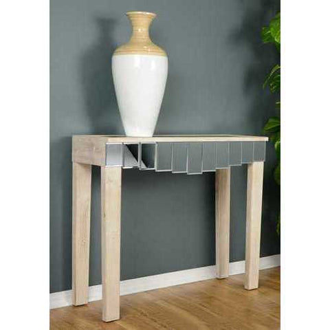1-Drawer Mirrored Console Table - Mdf, Wood Mirrored Glass In White Washed