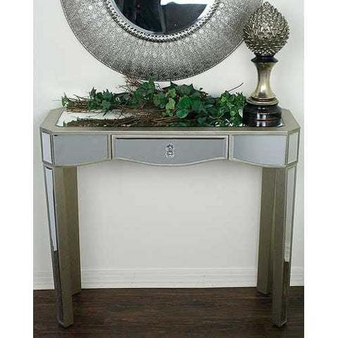 1-Drawer Mirrored Console Table - Mdf, Wood Mirrored Glass In Champagne