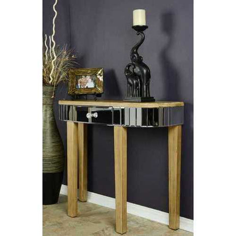 1-Drawer Mirrored Console Table - Mdf, Wood Mirrored Glass In Distressed Brown