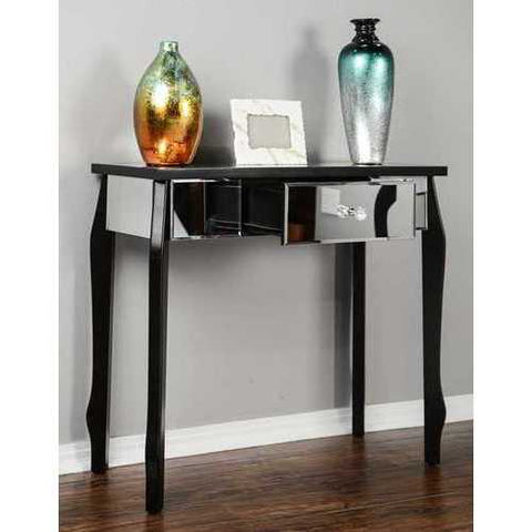 1-Drawer Mirrored Console Table - Mdf, Wood Mirrored Glass In Black