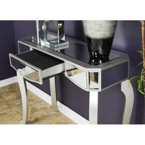 1-Drawer Mirrored Console Table - Mdf, Wood Mirrored Glass In Silver