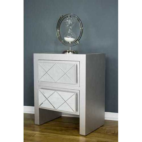 2 Drawer Accent Cabinet - Mdf, Wood Mirrored Glass In Silver