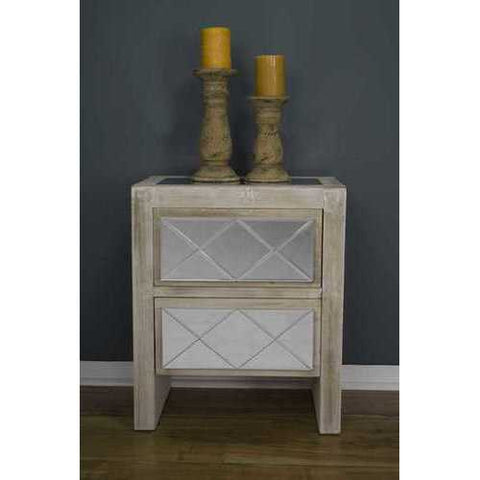 2 Drawer Accent Cabinet - Mdf, Wood Mirrored Glass In White Washed