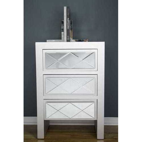 3 Drawer Accent Cabinet - Mdf, Wood Mirrored Glass In Silver