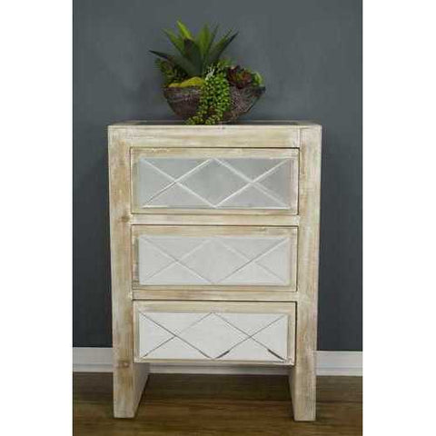3 Drawer Accent Cabinet - Mdf, Wood Mirrored Glass In White Washed