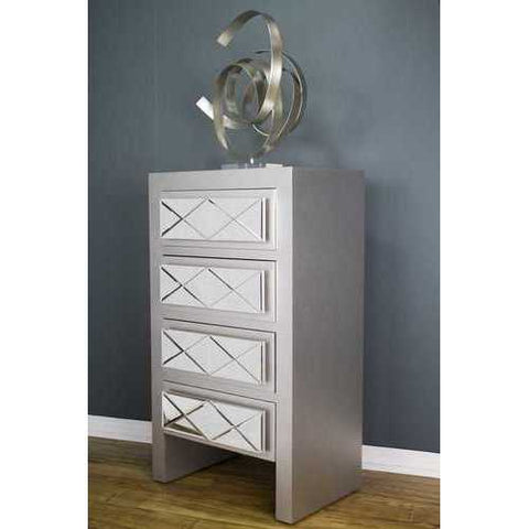 4 Drawer Accent Cabinet - Mdf, Wood Mirrored Glass In Silver