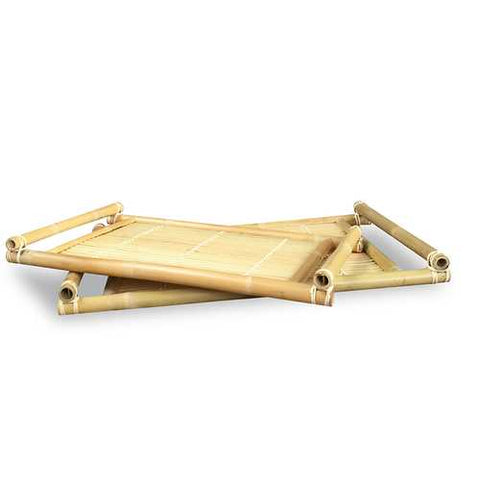 2-Piece Bamboo Nesting Tray Set - Natural
