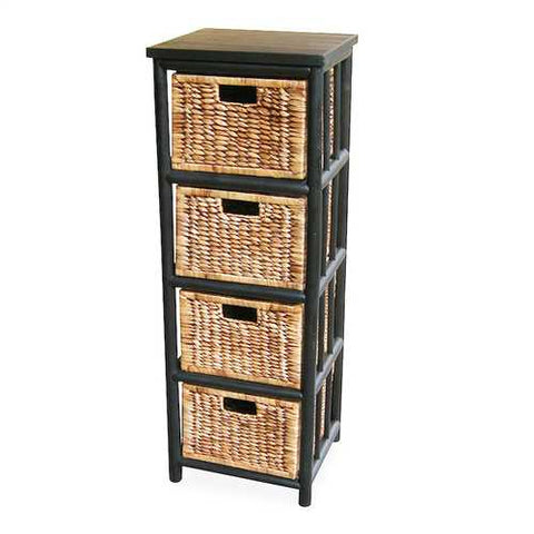 Open Sided Bamboo Storage Cabinet W/ 4 Hyacinth Baskets - Bamboo In Black/Brown