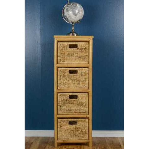 Open Sided Bamboo Storage Cabinet W/ 4 Hyacinth Baskets - Bamboo In Natural