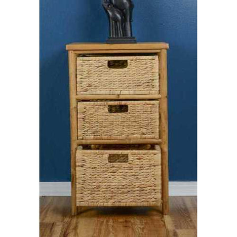 Open Sided Bamboo Storage Cabinet W/ 3 Hyacinth Baskets - Bamboo