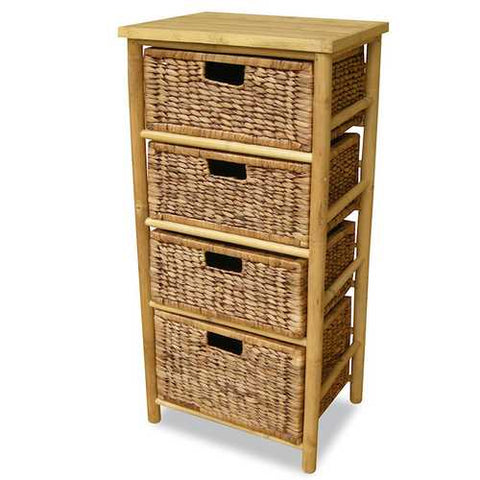 Open Sided Bamboo Storage Cabinet W/ 4 Hyacinth Baskets - Bamboo