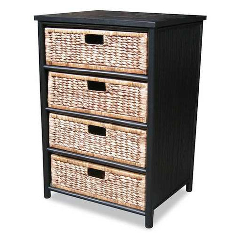 Bamboo Storage Cabinet W/ 4 Hyacinth Baskets - Bamboo In Black/Brown