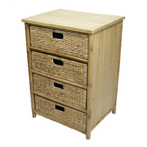 Bamboo Storage Cabinet W/ 4 Hyacinth Baskets - Bamboo In Natural