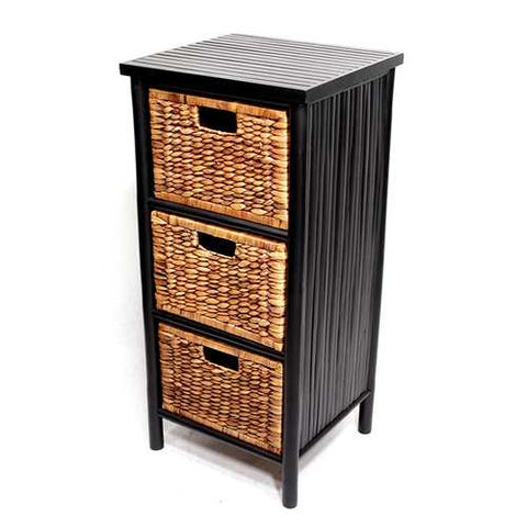 Bamboo Storage Cabinet W/ 3 Hyacinth Baskets - Bamboo In Black/Brown