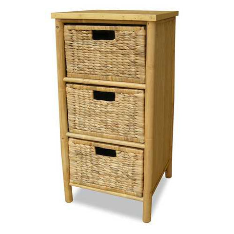 Bamboo Storage Cabinet W/ 3 Hyacinth Baskets - Bamboo In Natural