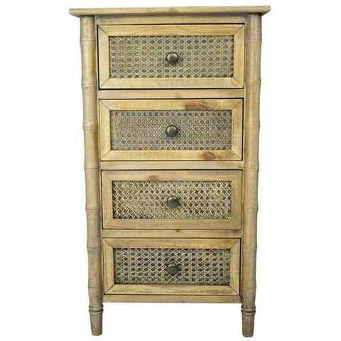 4-Drawer Cabinet W/ Cane Detail - Wood (Pine), Cane In Rustic Wood