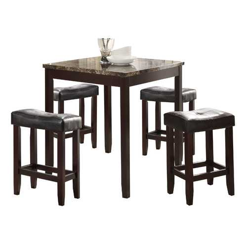 5 Piece Counter Height Set In Faux Marble, Black And Cherry