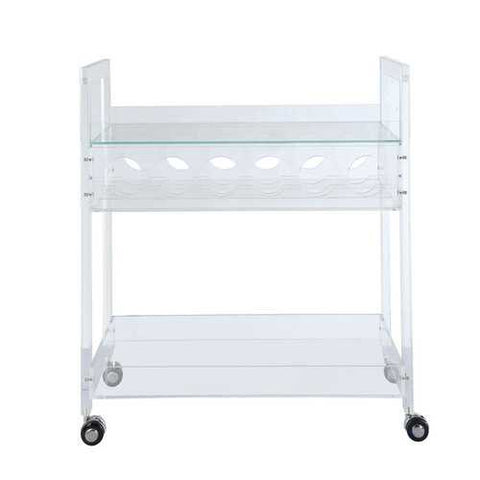 Serving Cart In Clear Acrylic And Clear Glass - Glass, Acrylic, Caster