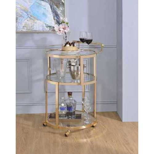 Serving Cart In Gold And Clear Glass - Metal  , Glass