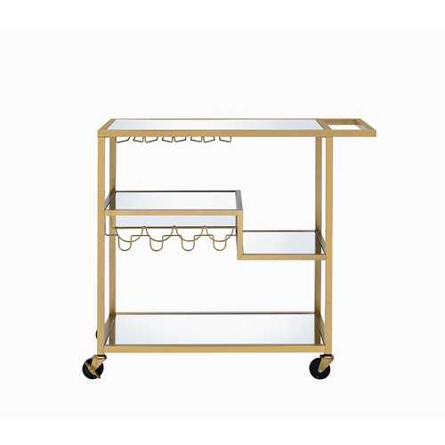 Serving Cart In Gold And Clear Glass - Metal, Glass