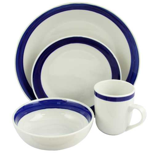 Gibson Basic Living III 16-Piece Dinnerware Set-Blue