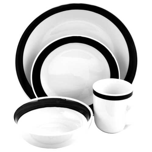 Gibson Basic Liiving III 16pc Dinnerware Set-Black