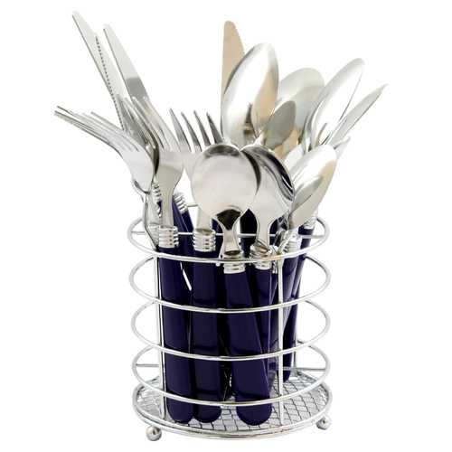 Gibson Sensations II 16 Piece Flatware Set with Cobalt  Plastic Handle with Wire Caddy