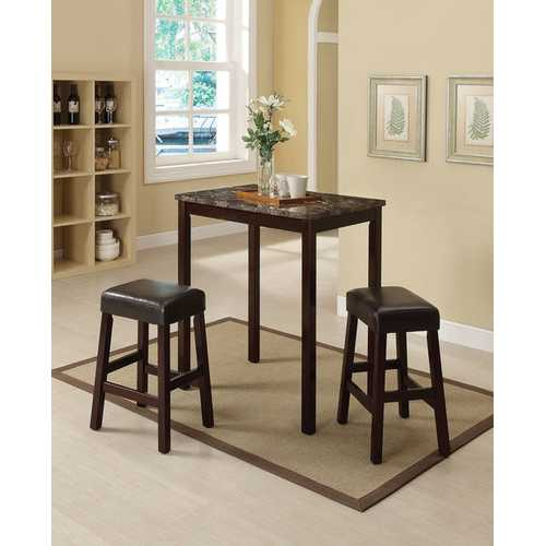 3Pc Pack Counter Height Set, Faux Marble, Espresso & Espresso Pu