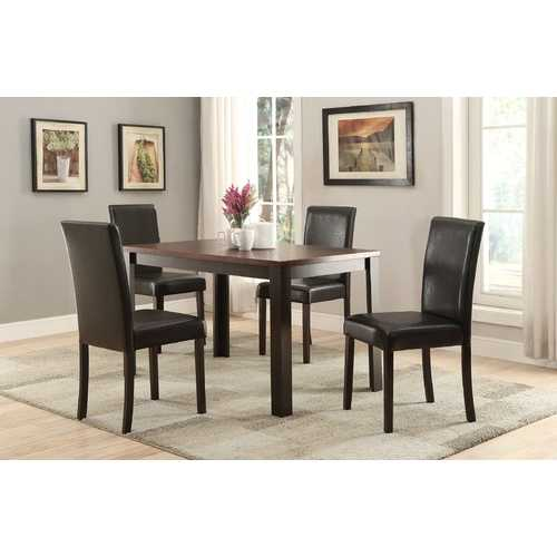 5Pc Pack Dining Set, Dark Cherry & Espresso (Espresso Pu) - Table:Mdf & Pu Veneer, C Dark Cherry & Espresso (Espresso Pu)