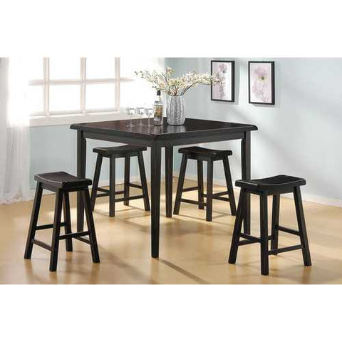 5Pc Pack Counter Height Set, Black - Rubber Wood (Solid), Rubb Black