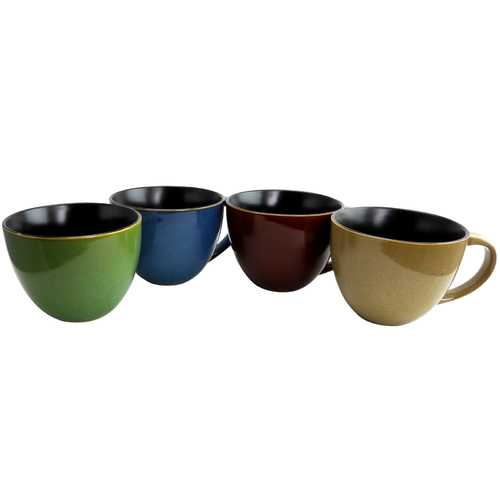 Gibson Home Earthly Jewels 18.5 oz Latte Mug Set, Set of 4 Assorted Colors