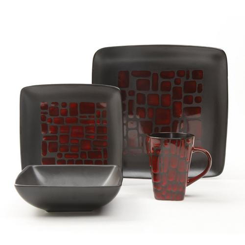 Gibson Elite Cabazon 16 Piece Dinnerware Set, Red