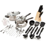 Gibson Total Kitchen Lybra 32-Piece Cookware Combo Set
