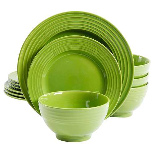 Gibson Plaza Cafe 12-Piece Dinnerware Set in Green