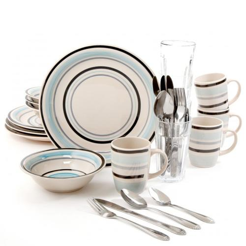 Gibson Deluxe Essentials 32pc Dinnerware Combo Set-Blue
