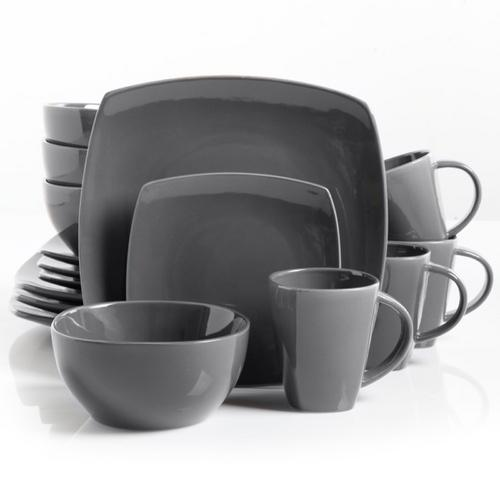 Gibson Home Soho Lounge Square Dinnerware Set in Gray, Set of 16 Piece