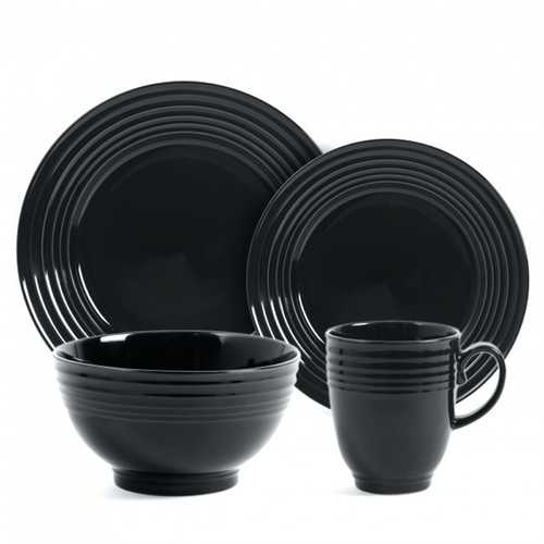 Gibson Stanza 16 pc Stoneware Dinnerware Set- Black