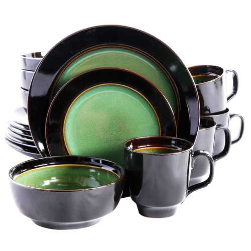 Bella Galleria 16 piece Reactive Dinnerware Set in Green and Black