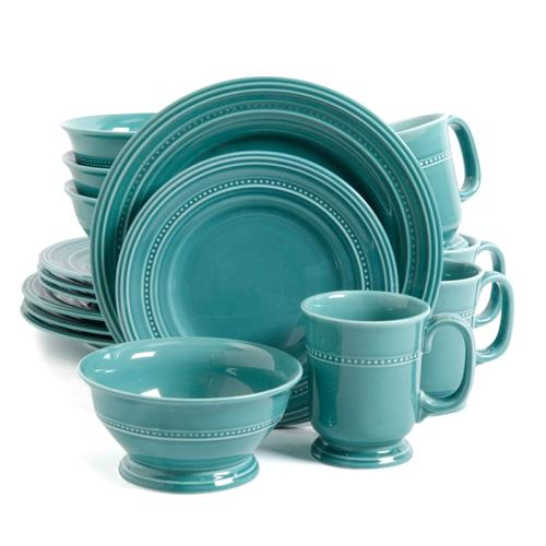 Gibson Barberware 16 Pc Dinnerware Set - Turquoise