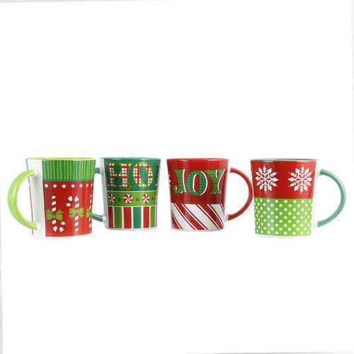 Gibson Home Holiday Wrap 15 oz. Assorted Funky Mug Set, Set of 4