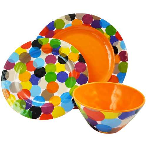 Studio California Party Circles 12 Piece Melamine Dinnerware Set