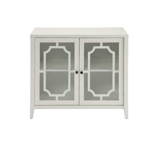 Cabinet In White - Mdf, Glass White